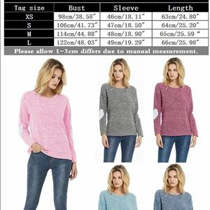 Sweaters - Women's Heart Patchwork Elbow Marled Knit Sweater